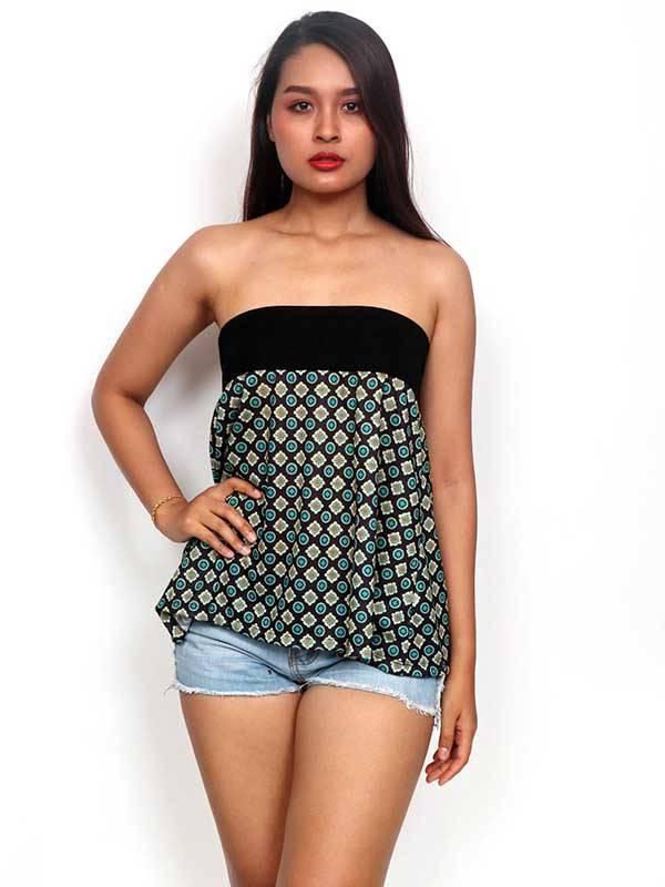 Top corto Hippie con estampado de mandalas [FASN20-T] para comprar al por Mayor o Detalle en la categoría de Camisetas Blusas y Tops