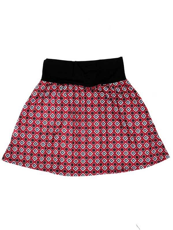 Falda corta Hippie con estampado de mandalas - Rojo Comprar al mayor o detalle