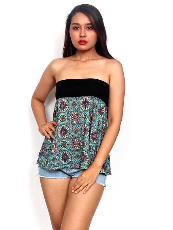 Camisetas y Tops Hippies - Top corto Hippie con estampado de mandalas FASN21-T para comprar al por Mayor o Detalle en la categoría de Ropa Hippie Alternativa para Mujer