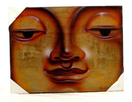 Lienzo pintado aerógrafo, motivos budha. Medidas: 30x40 cm [FRLI2] para comprar al por Mayor o Detalle en la categoría de Decoración Etnica