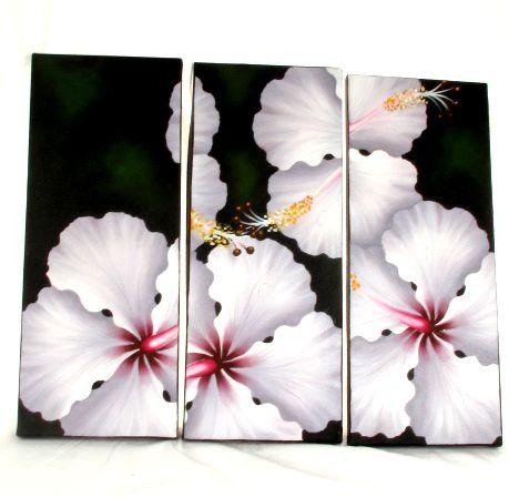Triptico lienzos pintados motivos de flores, set de 3 uds. Medida Comprar - Venta Mayorista y detalle