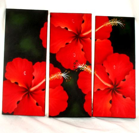Triptico lienzos pintados motivos de flores, set de 3 uds. Medida FRLI3 para comprar al por mayor o detalle  en la categoría de Outlet Hippie Étnico Alternativo.