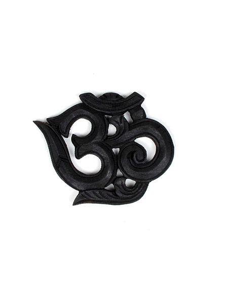 Decoración Etnica - Om de madera tallado, pequeño11cm [FROM1] para comprar al por mayor o detalle  en la categoría de Artículos Artesanales.