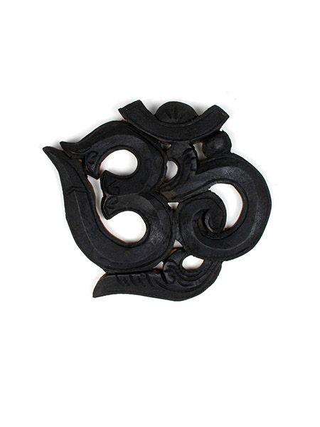 Decoración Etnica - OM tallado madera 18cm [FROM2] para comprar al por mayor o detalle  en la categoría de Artículos Artesanales.
