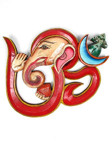 Om Ganesh tallado en madera a mano grande 40 cm aprox con colgador. Comprar - Venta Mayorista y detalle