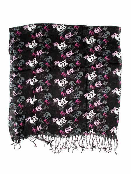 Fular mini pareo fino de telas suave y suelta con estampados calaveras, Comprar - Venta Mayorista y detalle
