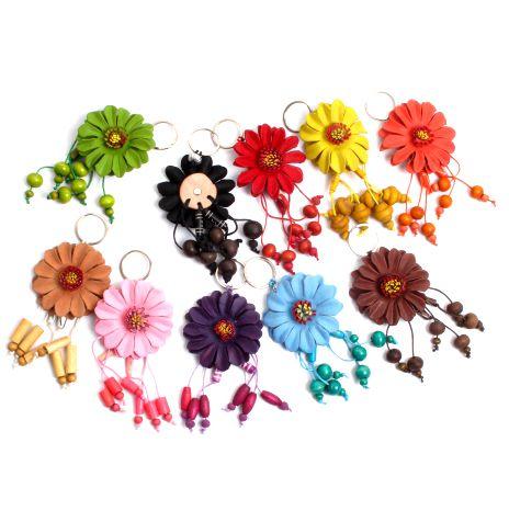 Llavero flor de cuero grande - detalle Comprar al mayor o detalle