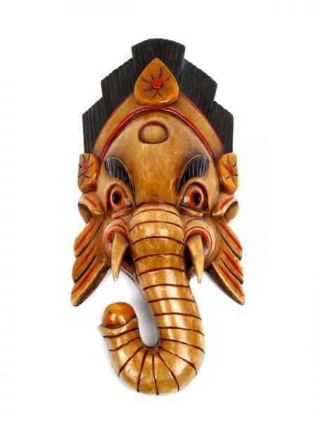 Máscara ganesh realizadas manualmente en madera y decoradas a mano por artesanos tibetanos, altura aprox 38-40 cm - detalle Comprar al mayor o detalle