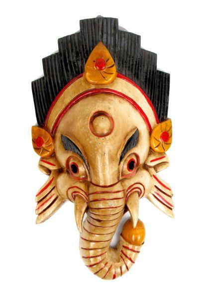 Decoración Etnica - Máscara ganesh realizadas manualmente en madera y decoradas a mano por artesanos tibetanos, altura aprox 38-40 cm MASC12 para comprar al por Mayor o Detalle en la categoría de Artículos Artesanales