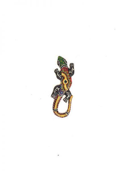Decoración Etnica - Gecko étnico tribal dotpaint 20cm MASGE15 para comprar al por Mayor o Detalle en la categoría de Artículos Artesanales