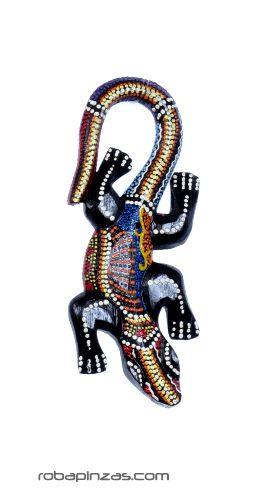 Gecko madera de sono decorada, tamaño 20cm aprox. ** Debido a la Comprar - Venta Mayorista y detalle