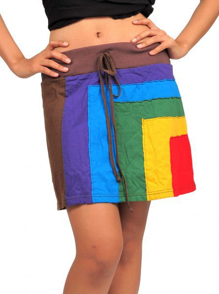 Minifalda hippie algodón patchwork. Minifalda 100% algodón realizada Comprar - Venta Mayorista y detalle