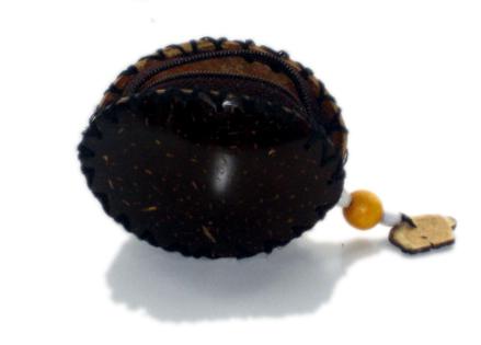 Monedero de coco, cremallera, cuerda para el cuello. Comprar - Venta Mayorista y detalle