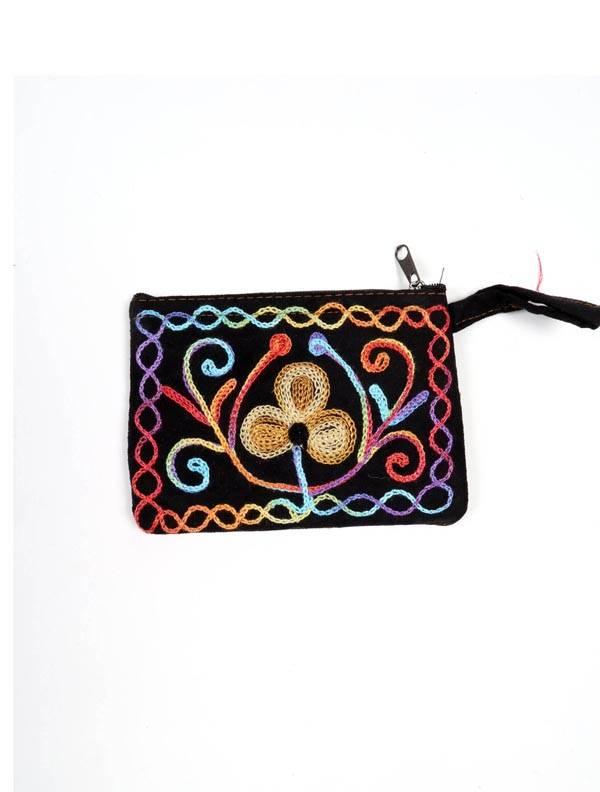 Monedero Piel melocotón tibet bordado - Negro Comprar al mayor o detalle