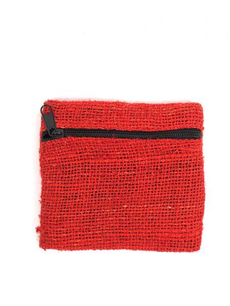 Carteras / Monederos - Monedero de cáñamo-hemp liso con cremallera lateral, medidas aprox 9x8cm MOKA06 para comprar al por Mayor o Detalle en la categoría de Complementos Hippies Alternativos