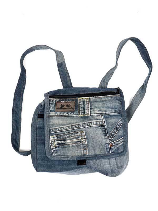 Rucksack mit Recycled Jeans Hose [MOSH02] zum Kauf im Großhandel oder Detail in der Kategorie Hippie Taschen und Rucksäcke