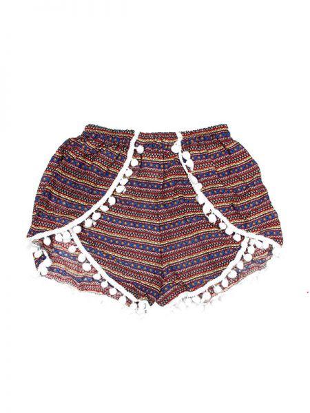 Pantalones Cortos Hippie Ethnic - Pantalón hippie corto PAET02 - Modelo Azul