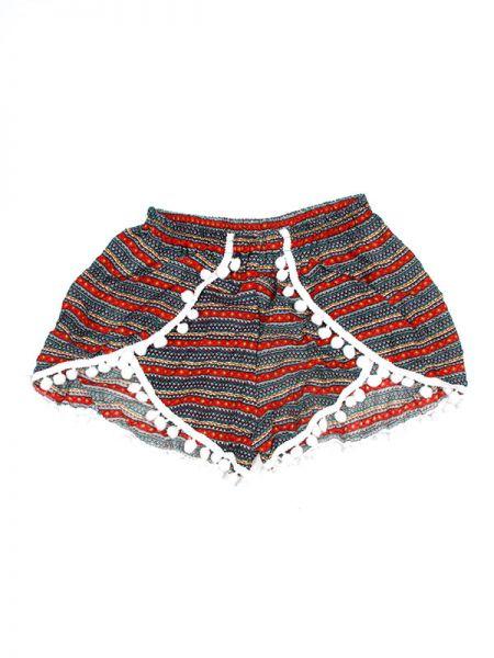 Pantalones Cortos Hippie Ethnic - Pantalón hippie corto PAET02 - Modelo Rojo