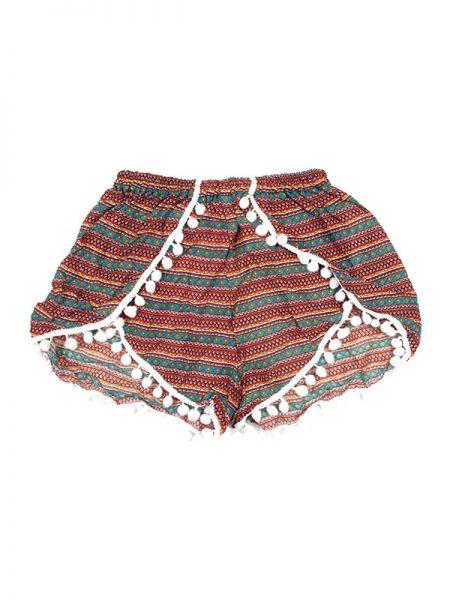 Pantalones Cortos Hippie Ethnic - Pantalón hippie corto PAET02 - Modelo Verde