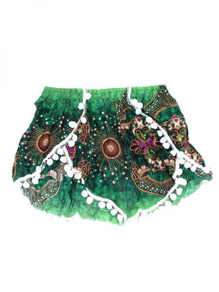 Pantalones Cortos Hippie Ethnic - Pantalón hippie corto PAET06 - Modelo Verde
