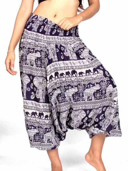 Pantalon Harem rayón estampado elefantes - Detalle Comprar al mayor o detalle