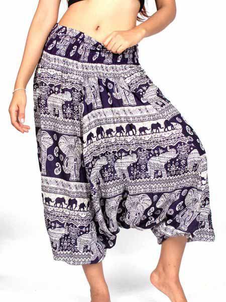 Pantalon Harem rayón estampado elefantes - Comprar al Mayor o Detalle