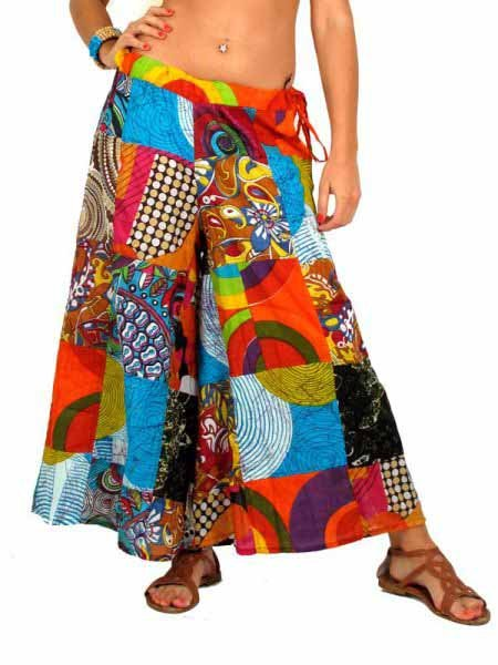Pantal n hippie parches amplio pantalones hippies largos - Ropa de los hippies ...