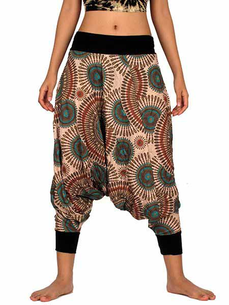 Pantalón árabe estampado mandala, con elástico en cintura y tobillo, Comprar - Venta Mayorista y detalle