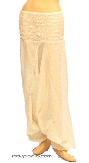 Pantalón hippie arabe amplio, tela de rayas plata. Talla única. Comprar - Venta Mayorista y detalle