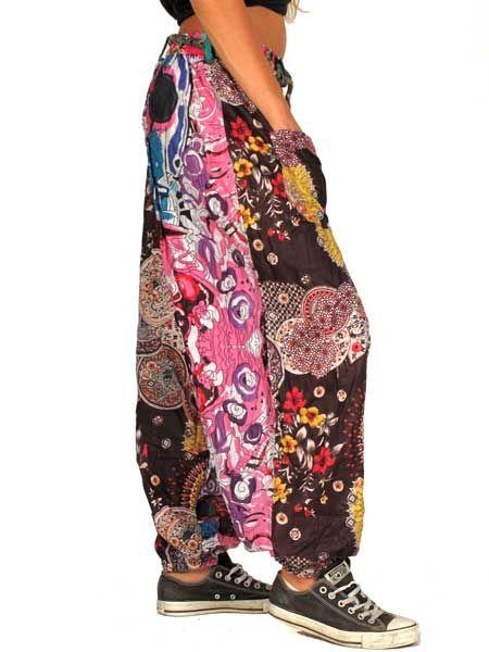 Pantalón hippie flower power de parches - Detalle Comprar al mayor o detalle