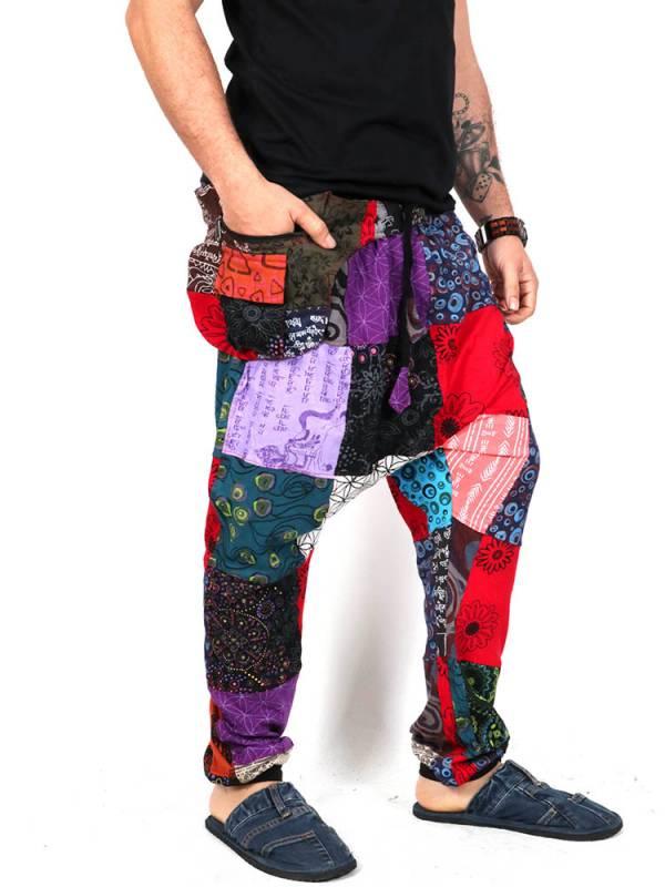 Pantalones Hippies - Pantalón hippie Patchwork con riñonera [PAHC28] para comprar al por mayor o detalle  en la categoría de Ropa Hippie Alternativa para Hombre.