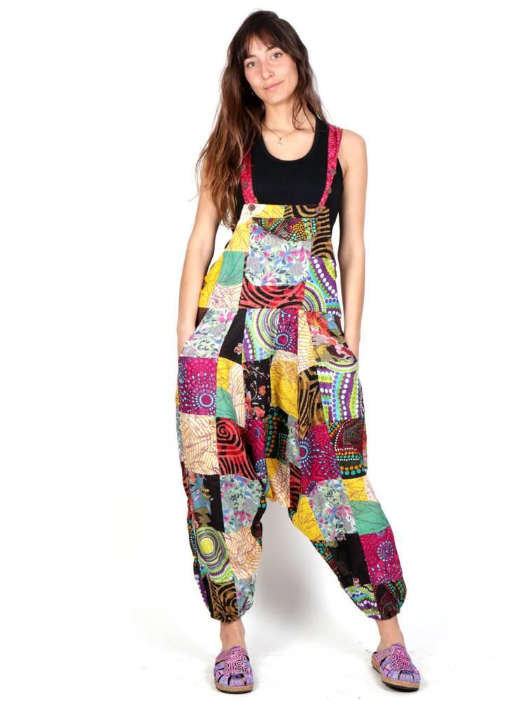 Peto hippie de algodón patchwork con varios bolsillos Comprar - Venta Mayorista y detalle