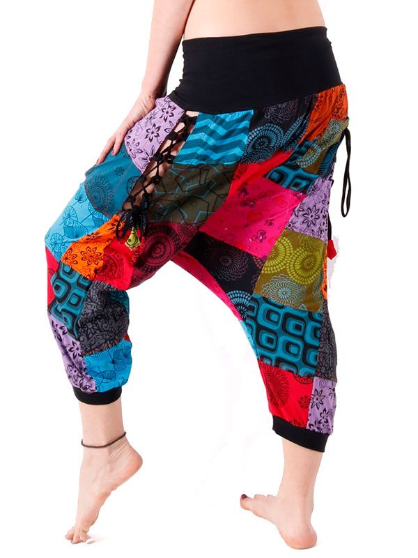 Pantalón hippie Patchwork Lateral Abierto PAHC37 para comprar al por mayor o detalle  en la categoría de Ropa Hippie Alternativa para Chicas.