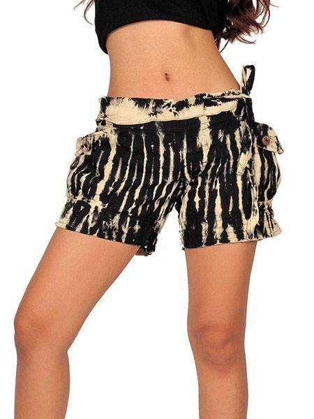 Pantalones Cortos Hippies - Pantalon hippie corto Tie Dye [PAJU06] para comprar al por mayor o detalle  en la categoría de Ropa Hippie Étnica para Chicas.