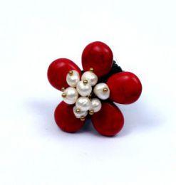 Anillo con forma de flor realizado Mod Rojo