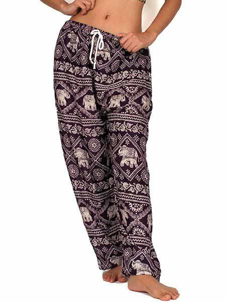 Pantalon amplio rayón estampado elefantes - Detalle Comprar al mayor o detalle