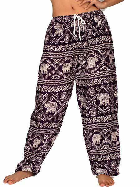 Pantalon amplio rayón estampado elefantes PAPA03 para comprar al por mayor o detalle  en la categoría de Ropa Hippie Alternativa para Chicas.