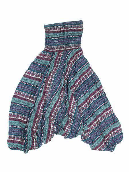 Pantalon árabe rayón estampado etnico - Azul Comprar al mayor o detalle