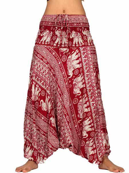 Pantalones Hippies Harem - Pantalon Harem rayón estampado elefantes [PAPA10] para comprar al por mayor o detalle  en la categoría de Ropa Hippie Alternativa para Mujer.