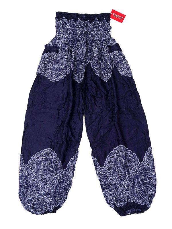Pantalon amplio estampado étnico - Azul Comprar al mayor o detalle