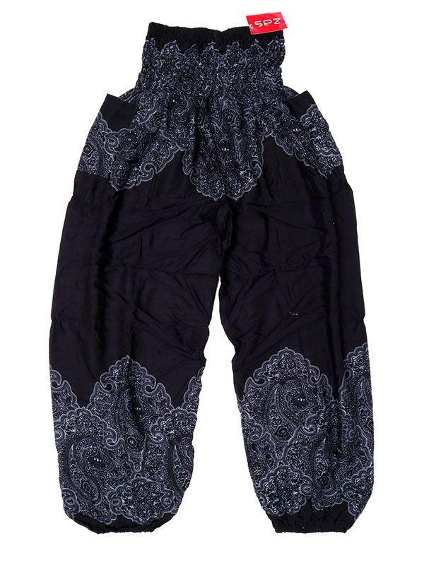 Pantalon amplio estampado étnico - Negro Comprar al mayor o detalle