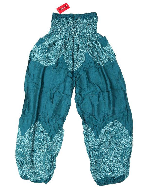 Pantalon amplio estampado étnico - Verde Comprar al mayor o detalle