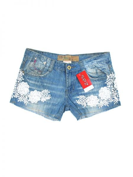 Pantalon jeans corto encaje. pantalones jeans cortos reciclados con PAPO03 para comprar al por mayor o detalle  en la categoría de Outlet Hippie Étnico Alternativo.