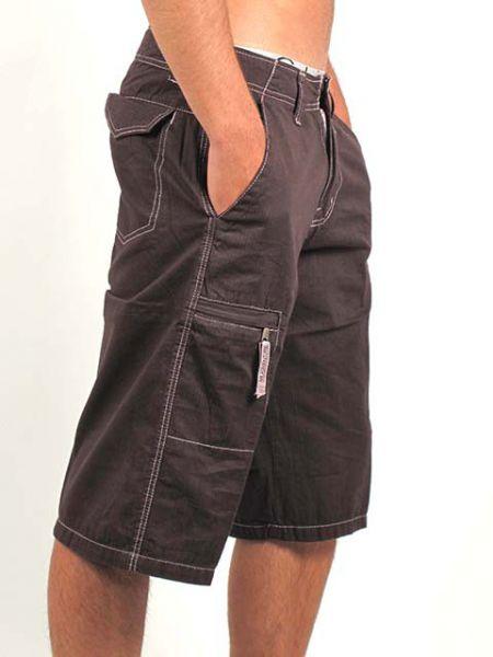 Pantalón rayas corto chico, pantalón de loneta fina de rayas con bolsillo lateral con cremallera, bolsillos laterales y traseros. - Detalle Comprar al mayor o detalle
