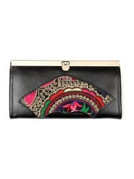 Leather Wallet with ethnic embroidery BIPO02-B to buy wholesale or detail in the Bohemian Hippie Fashion Accessories category | ZAS.
