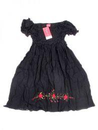 Vestidos Hippie Ethnic Boho - Vestido corto con bordado BLAO02 - Modelo Negro