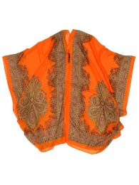Blusa transparecia de flores Mod Naranja