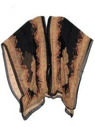 Top y Blusas Hippie Boho Ethnic - Blusa transparecia de flores BLAR05 - Modelo Negro
