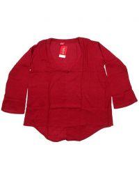 Top y Blusas Hippie Boho Ethnic - Blusa de algodón creppe BLEV02 - Modelo Rojo
