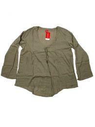 Camisetas y Tops Hippies - Blusa de algodón creppe BLEV02 - Modelo Verde2